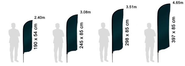tailles des drapeaux publicitaires