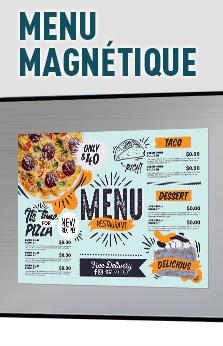 menu restaurant magnétique