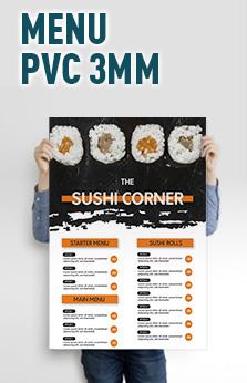 menu en pvc 3mm